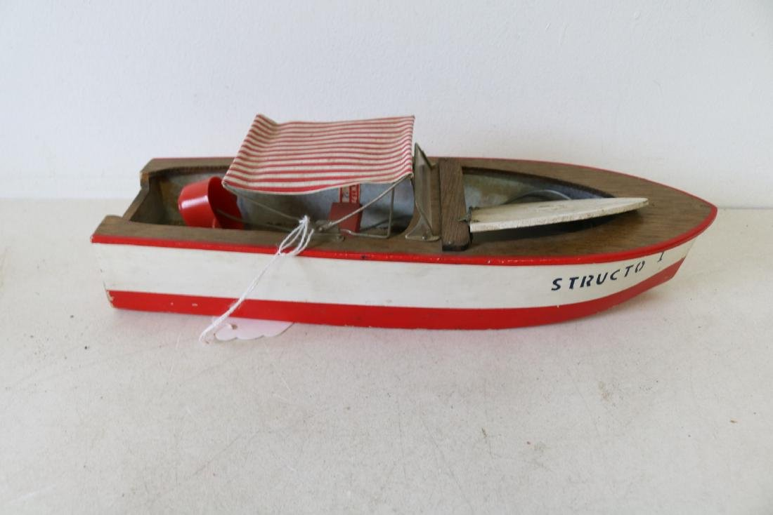 "Vintage Wooden Toy Boat, ""Structo I, Free Port"" - 3"