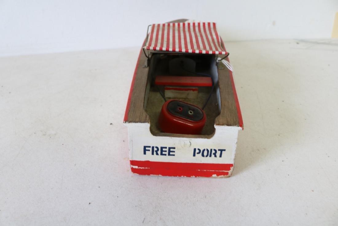 "Vintage Wooden Toy Boat, ""Structo I, Free Port"" - 5"