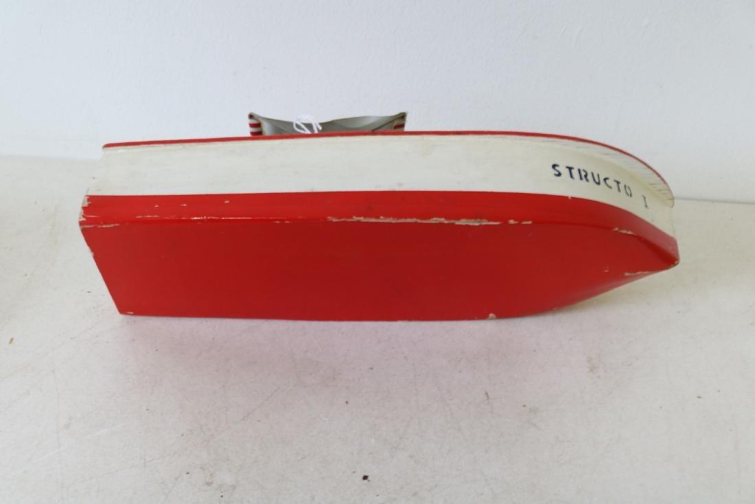 "Vintage Wooden Toy Boat, ""Structo I, Free Port"" - 6"