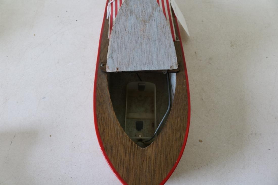 "Vintage Wooden Toy Boat, ""Structo I, Free Port"" - 7"