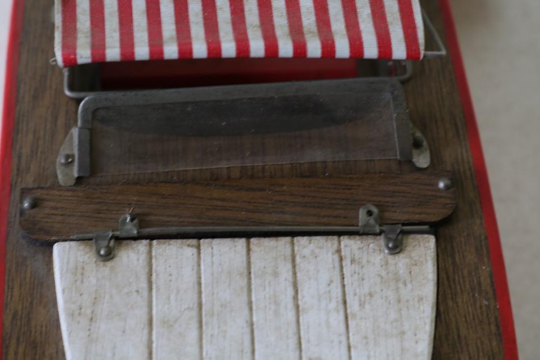 "Vintage Wooden Toy Boat, ""Structo I, Free Port"" - 8"