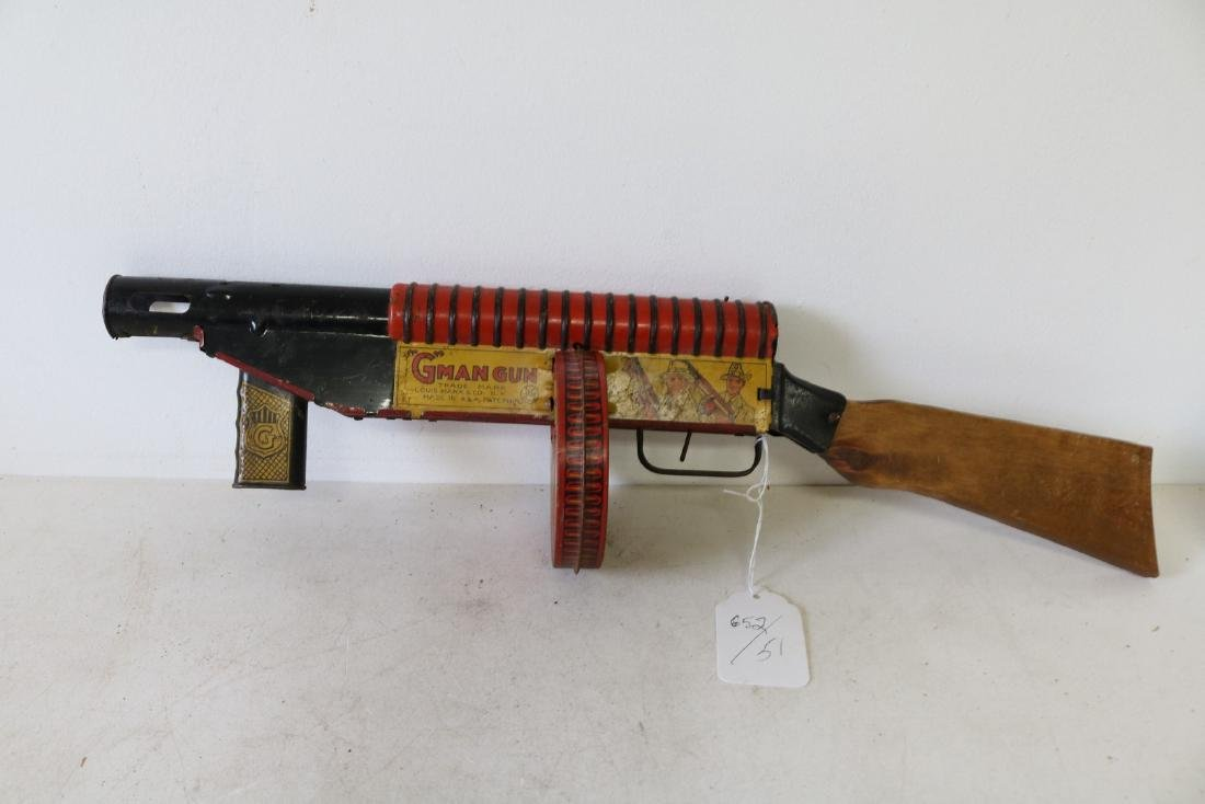 "Marx ""G"" Man Gun, Tin Toy"