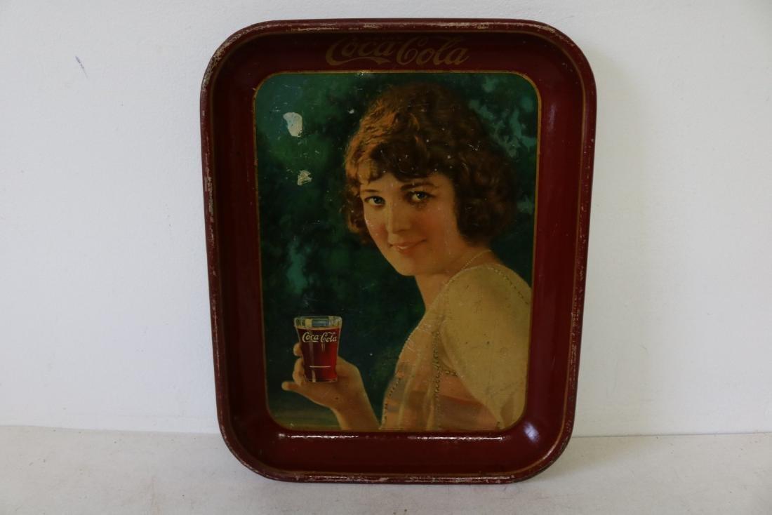 Original Coca-Cola Tray, Girl holding glass of