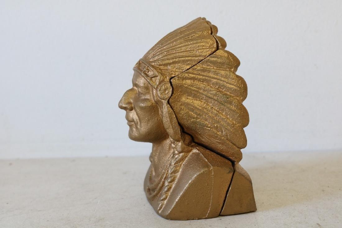 Vintage Cast Iron Indian Head Bank - 2