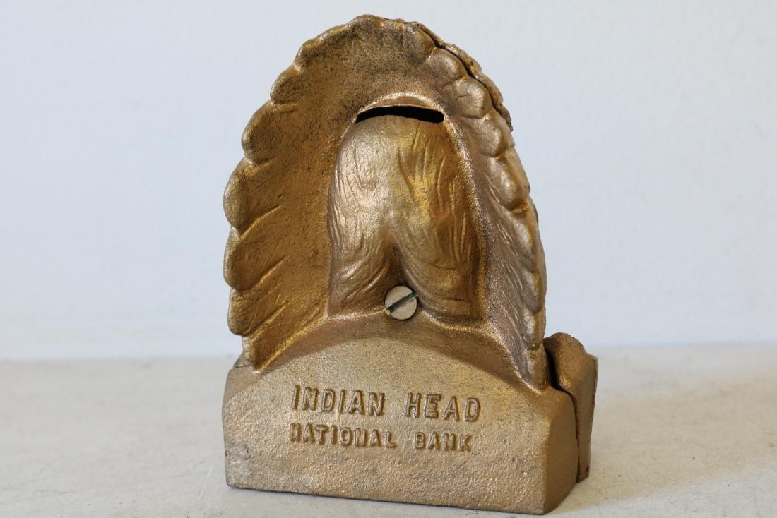 Vintage Cast Iron Indian Head Bank - 3