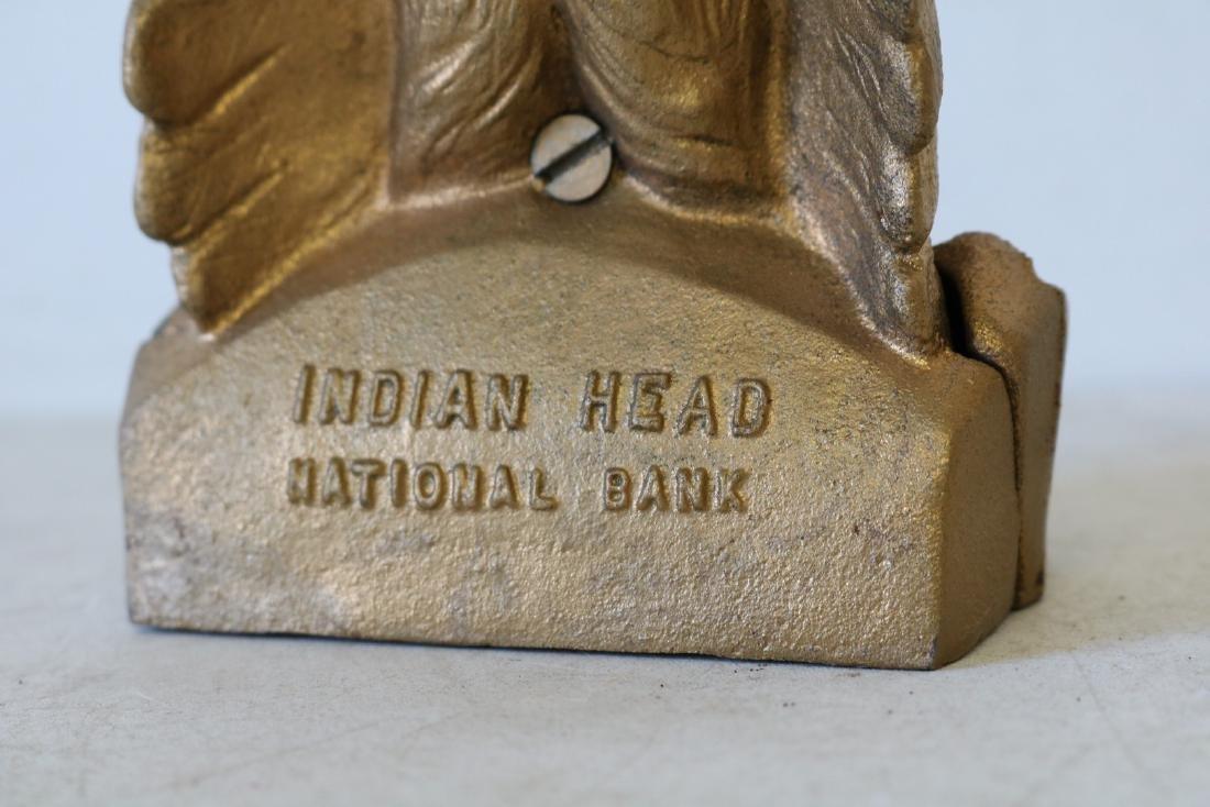 Vintage Cast Iron Indian Head Bank - 4