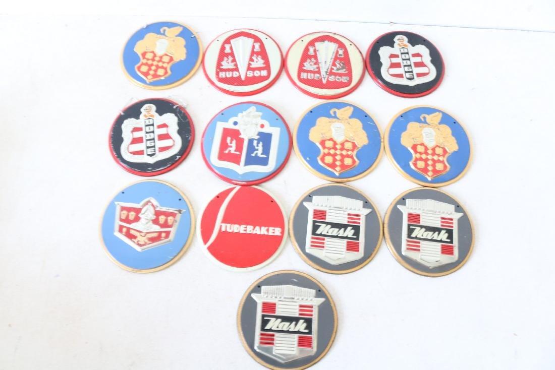 Lot of 13 Vintage Auto Hood Badges