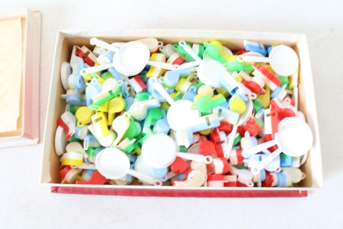 Box lot vintage toy whistles and pans
