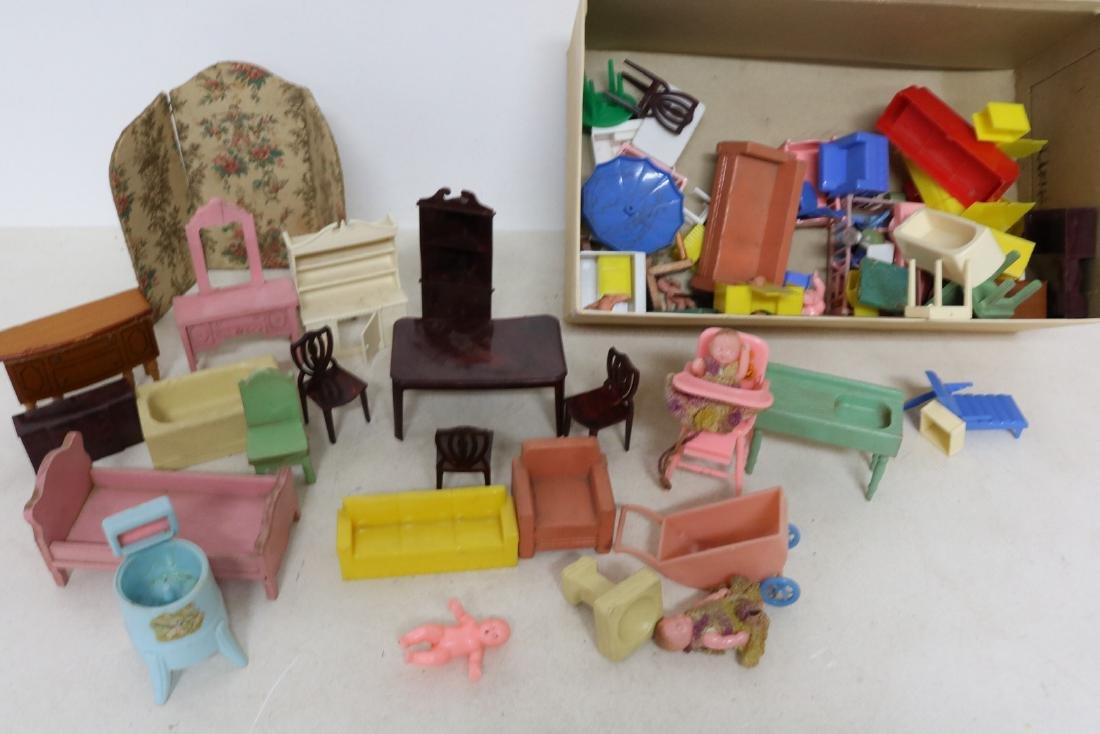 Lot of Vintage Doll Furniture and Dolls
