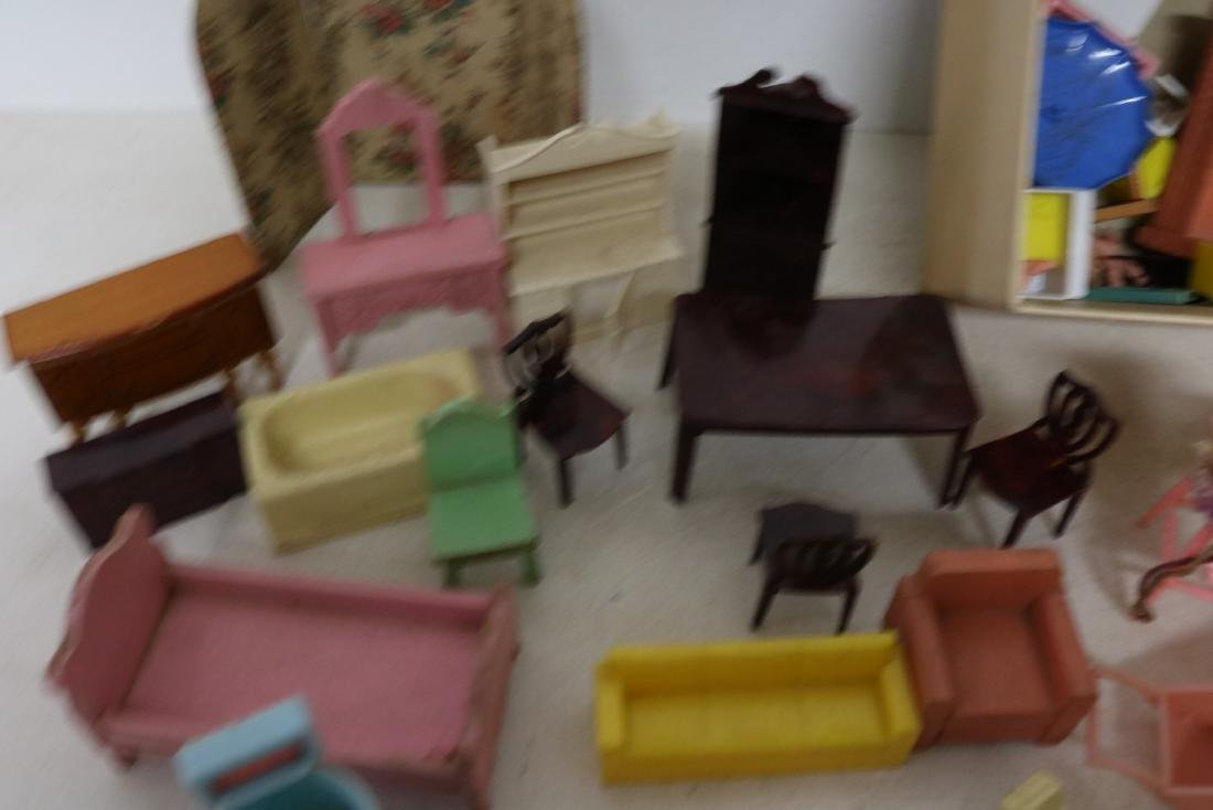Lot of Vintage Doll Furniture and Dolls - 2