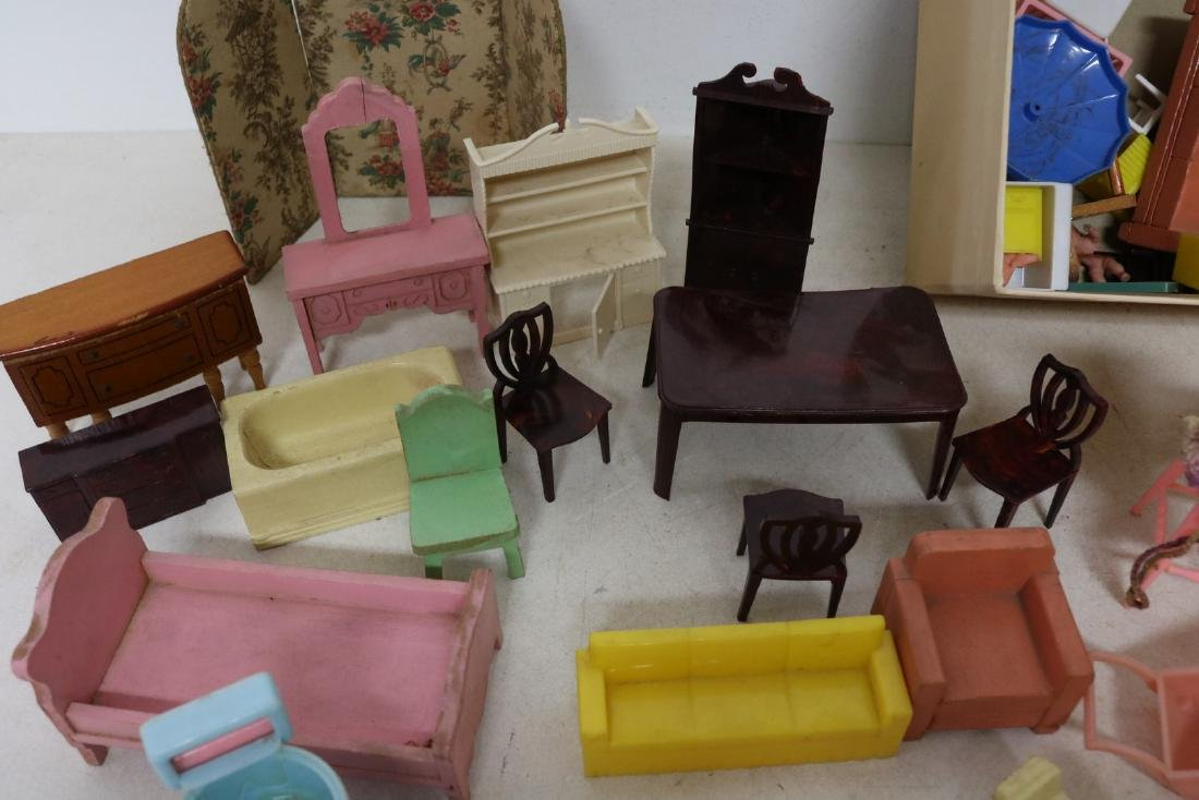 Lot of Vintage Doll Furniture and Dolls - 3