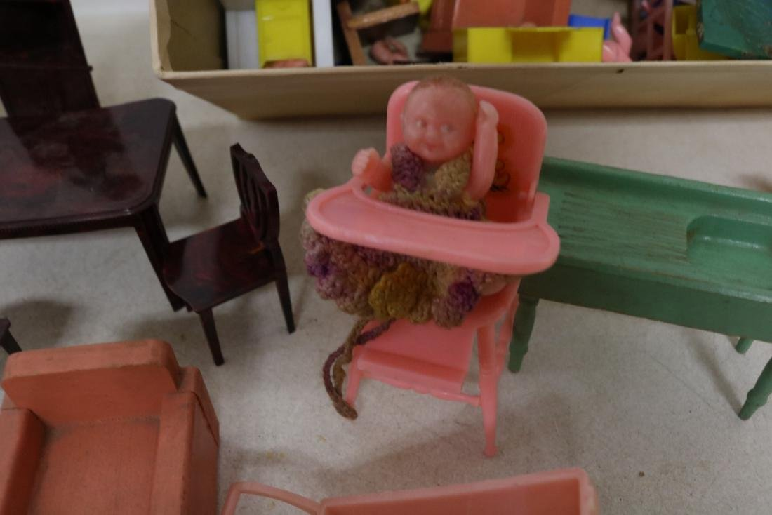 Lot of Vintage Doll Furniture and Dolls - 4