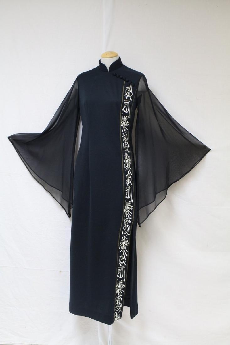 Vintage 1970s Shaheen Angel Sleeve Dress