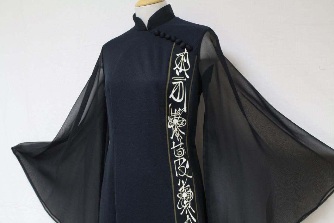 Vintage 1970s Shaheen Angel Sleeve Dress - 2