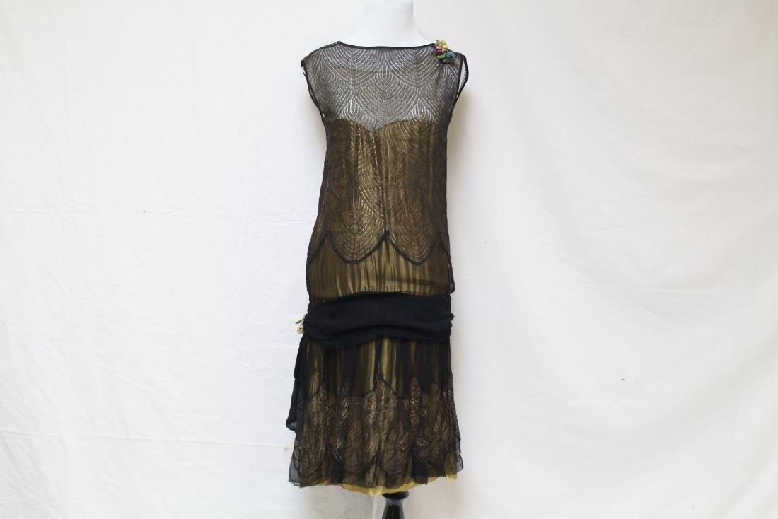 Vintage 1920s Gold & Black Flapper Dress