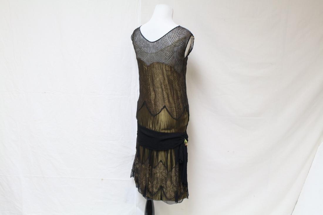 Vintage 1920s Gold & Black Flapper Dress - 5