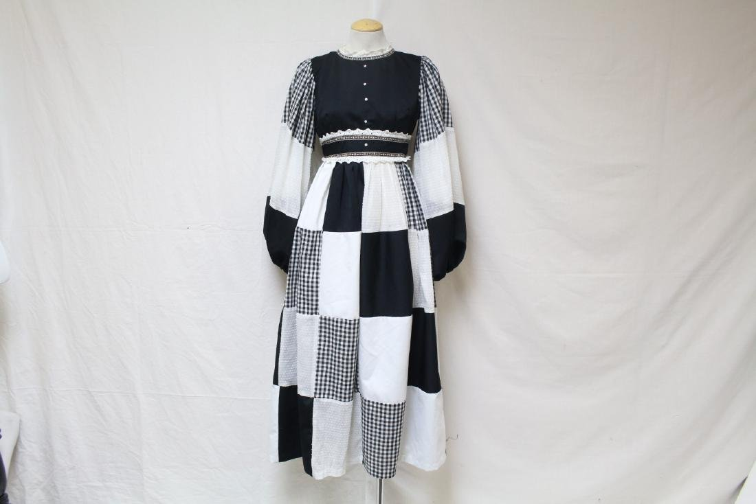 Vintage 1970s Black & White Bohemian Dress