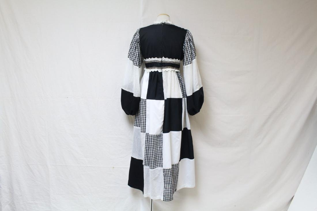 Vintage 1970s Black & White Bohemian Dress - 3