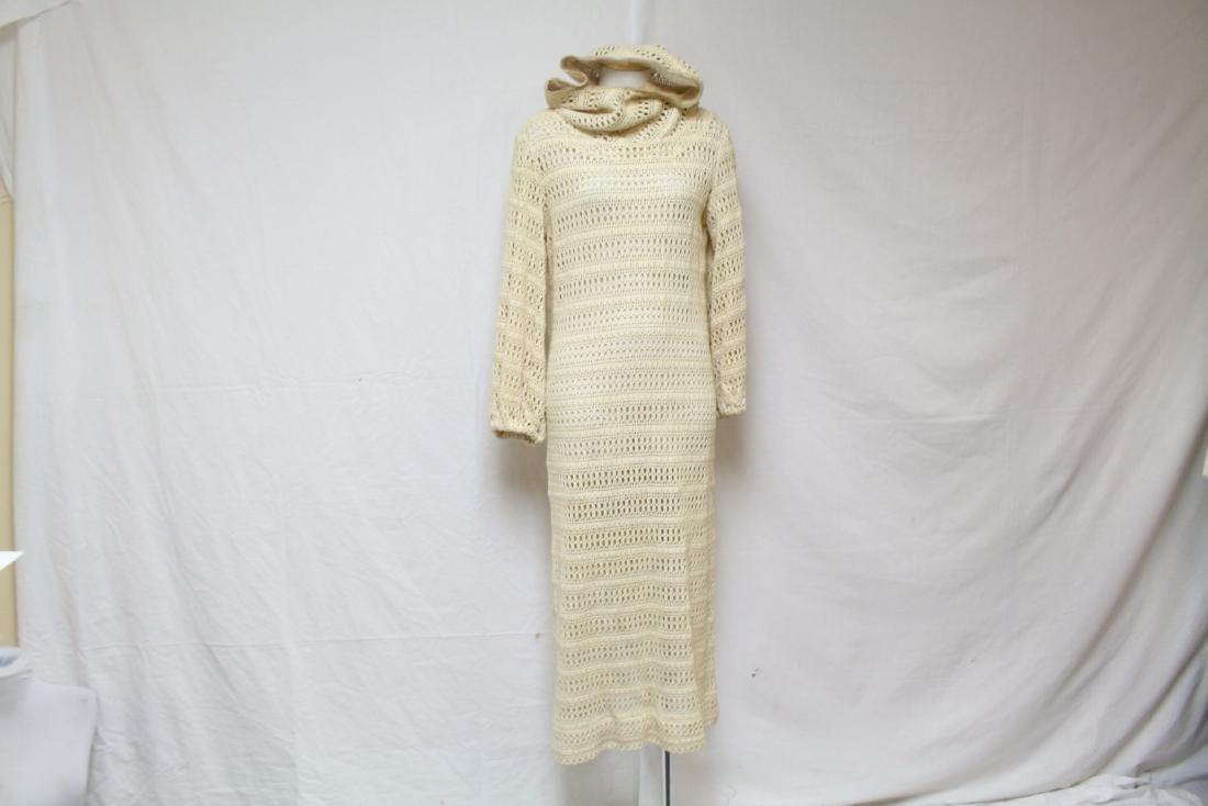 Vintage 1970s Cream Crocheted Hooded Dress