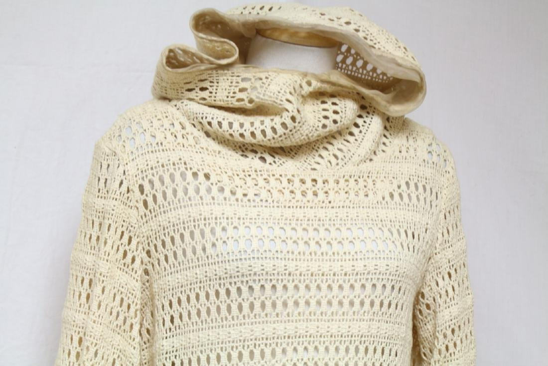 Vintage 1970s Cream Crocheted Hooded Dress - 2