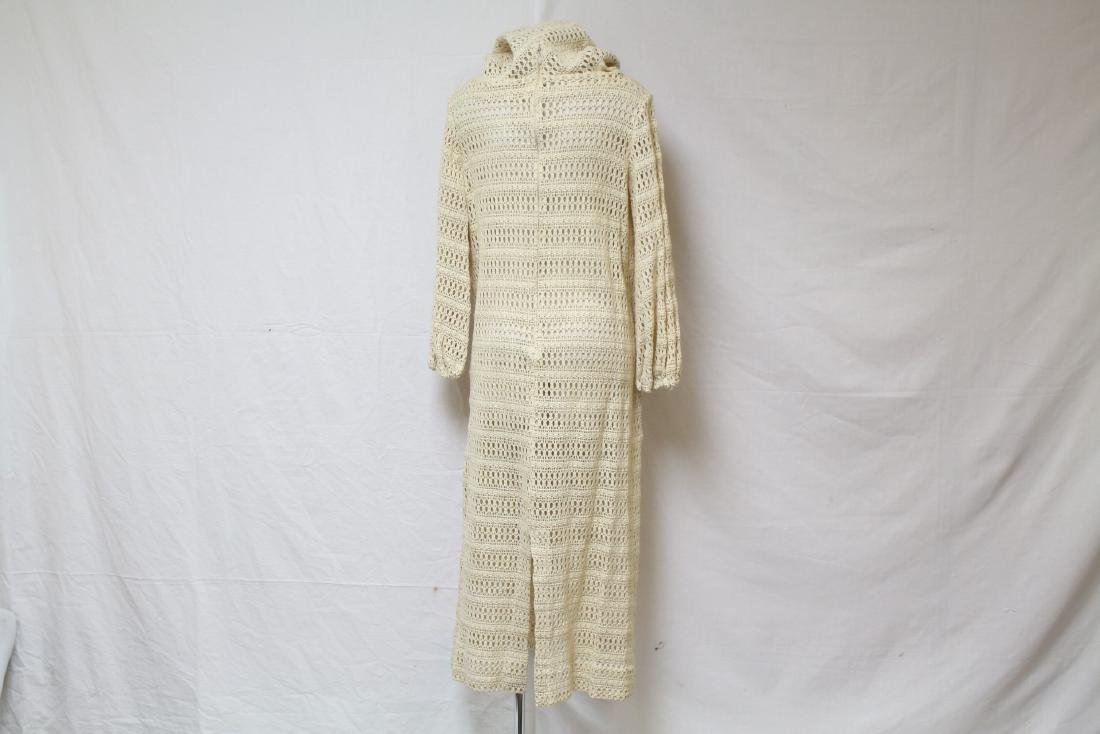 Vintage 1970s Cream Crocheted Hooded Dress - 3