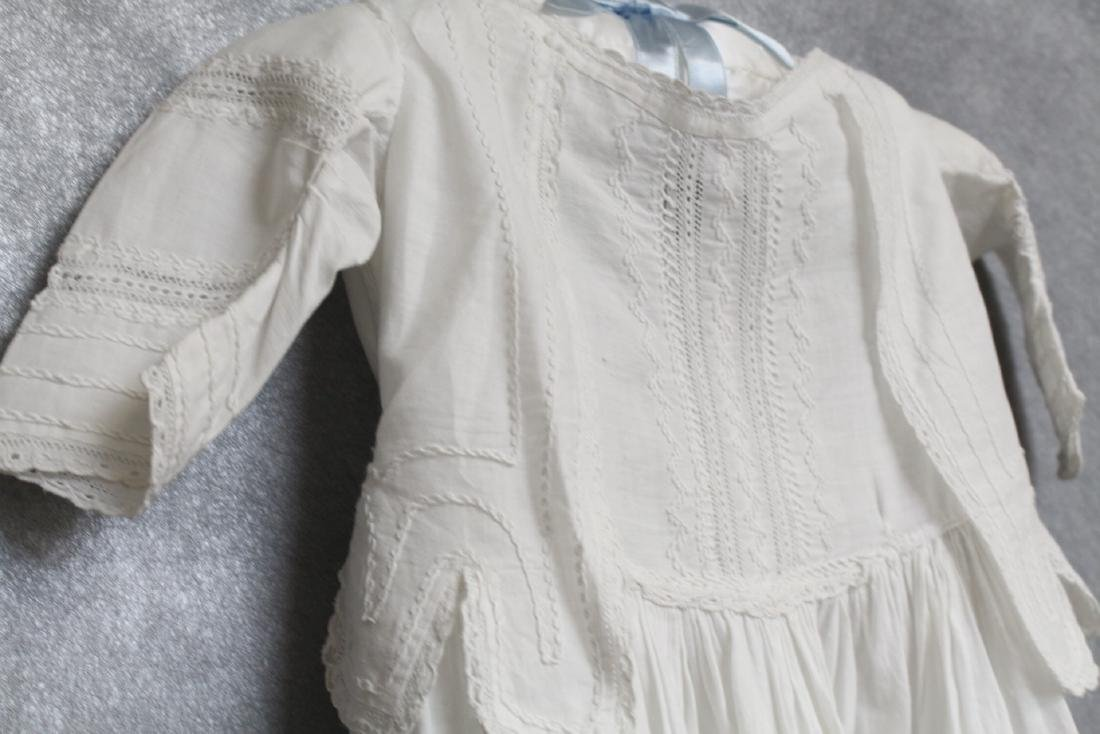 Antique White Cotton Embroidered Baby Gown - 2