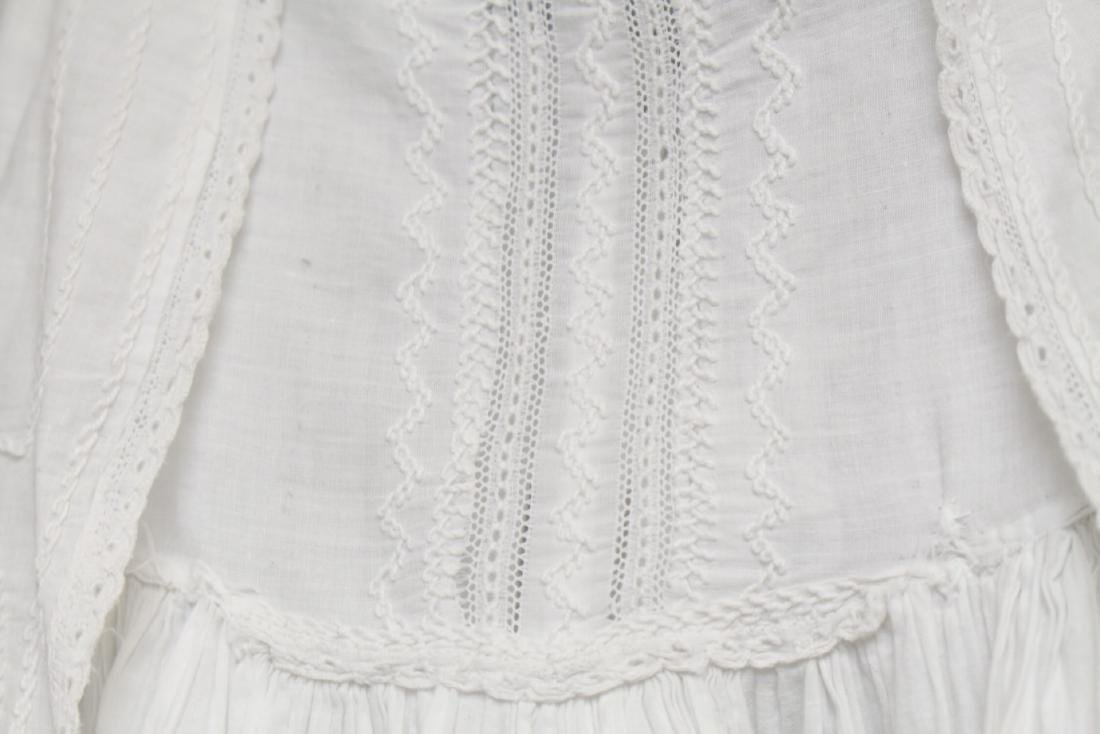 Antique White Cotton Embroidered Baby Gown - 3