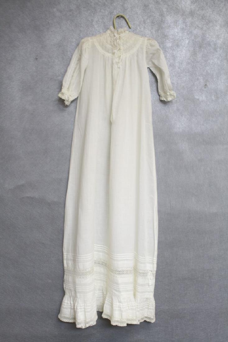 Antique Ivory Cotton & Lace Baby Gown - 3