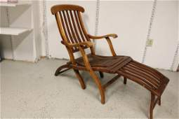 Antique Wooden Folding Deck Lounge Chair