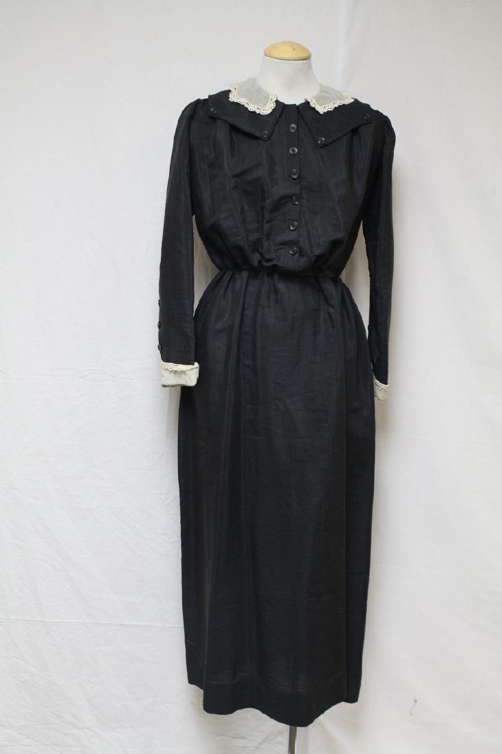 Antique 1900s Black Long Sleeve Dress