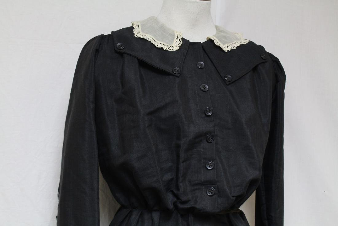 Antique 1900s Black Long Sleeve Dress - 2