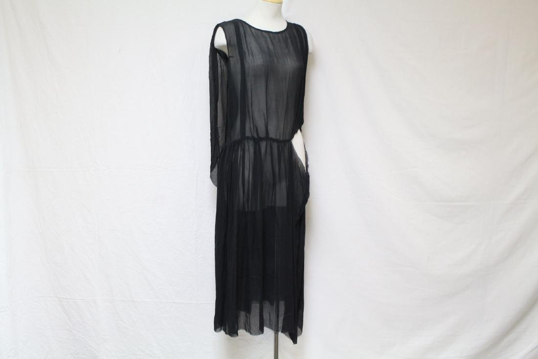 Vintage 1920s Black Chiffon Dress
