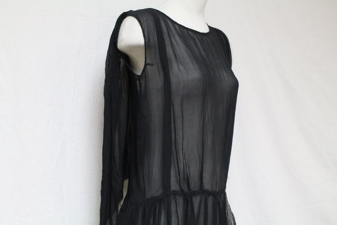Vintage 1920s Black Chiffon Dress - 2