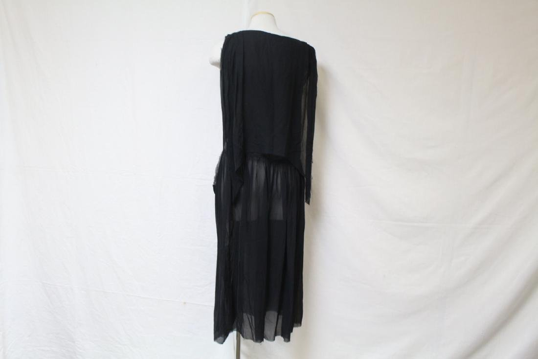 Vintage 1920s Black Chiffon Dress - 4