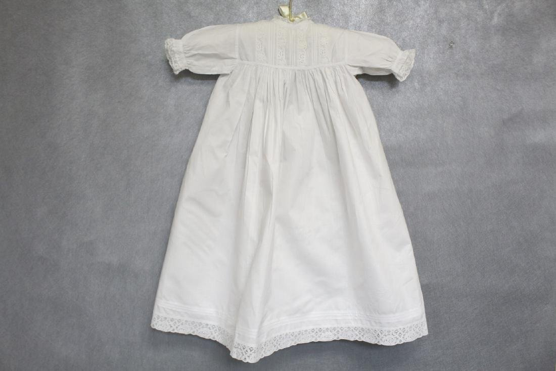 Vintage 1900s White Cotton & Lace Baby Gown