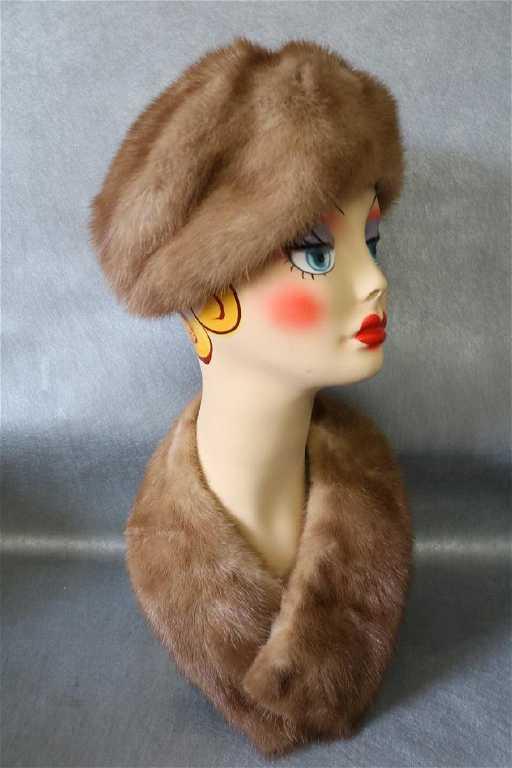 Vintage Mink Gimbels Fur Hat and Stole Collar b151eacaadf