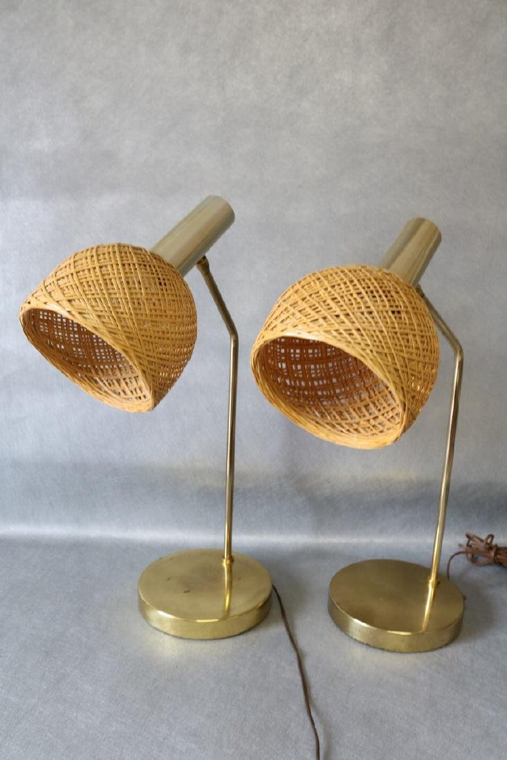 Pair Mid-Century Table Lamps with Wicker Shades