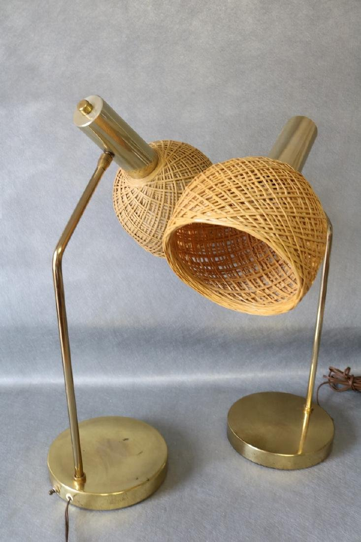 Pair Mid-Century Table Lamps with Wicker Shades - 2