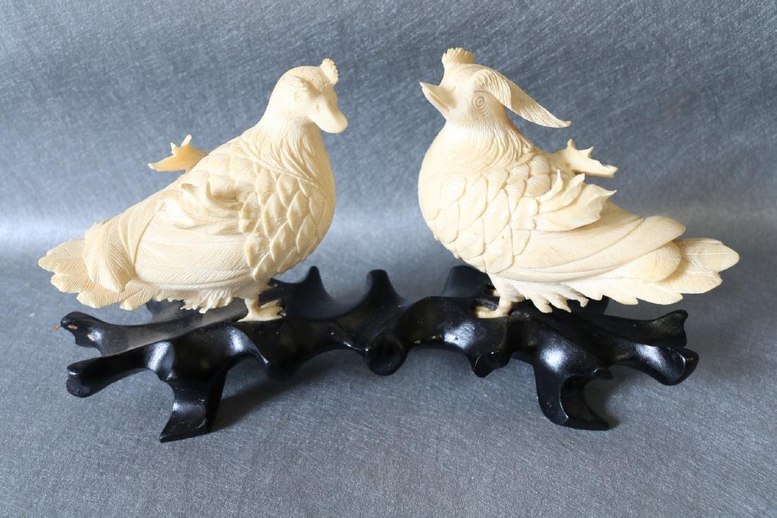 Antique Asian Carved Bone Birds on wood Stand
