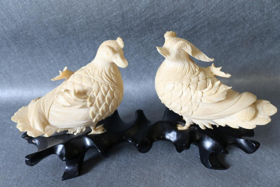 Antique Asian Carved Bone Birds on wood Stand - 3