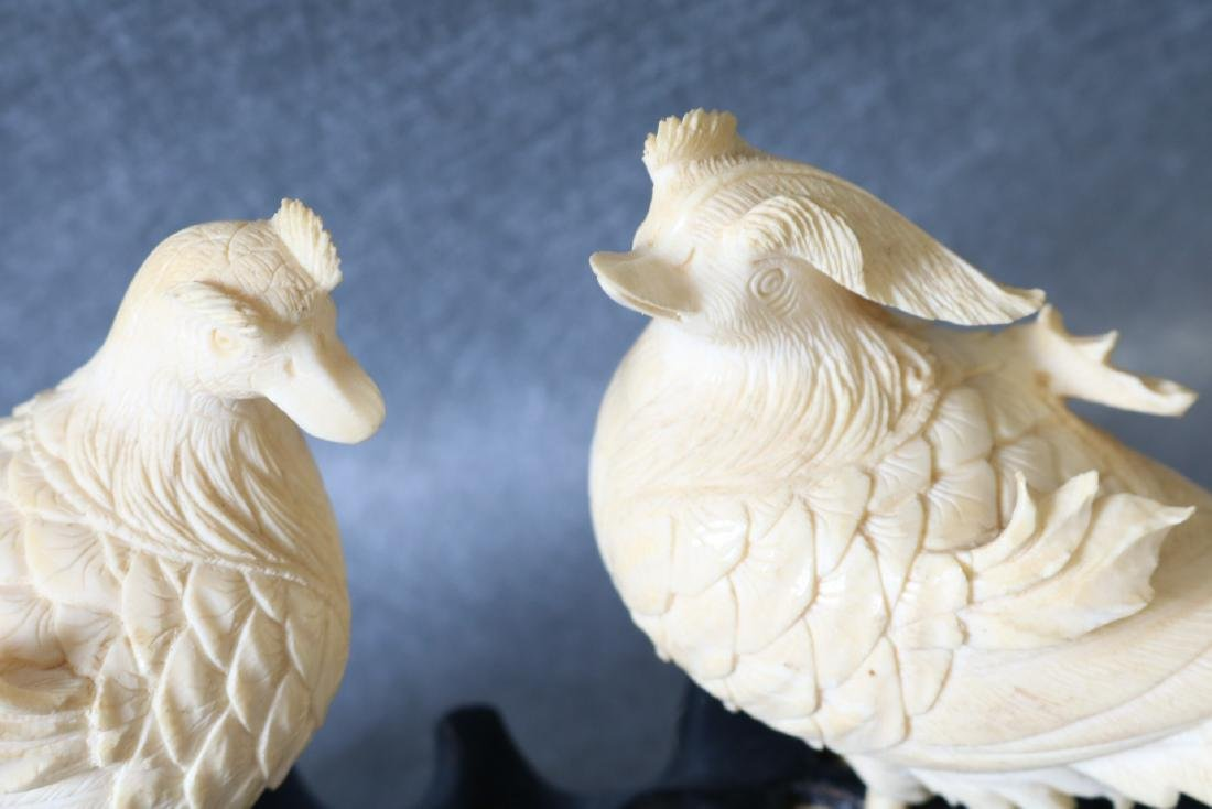 Antique Asian Carved Bone Birds on wood Stand - 5