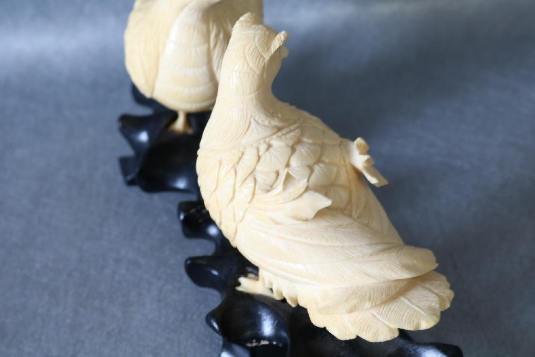 Antique Asian Carved Bone Birds on wood Stand - 6