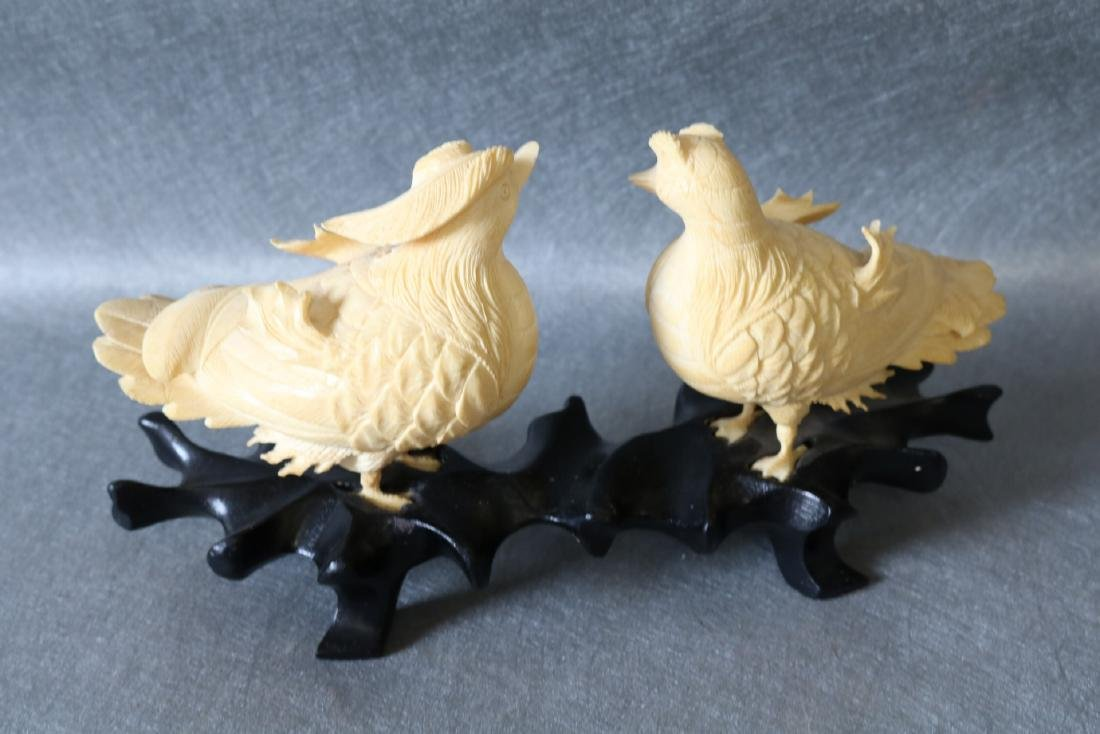 Antique Asian Carved Bone Birds on wood Stand - 7