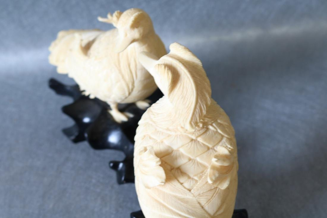 Antique Asian Carved Bone Birds on wood Stand - 8