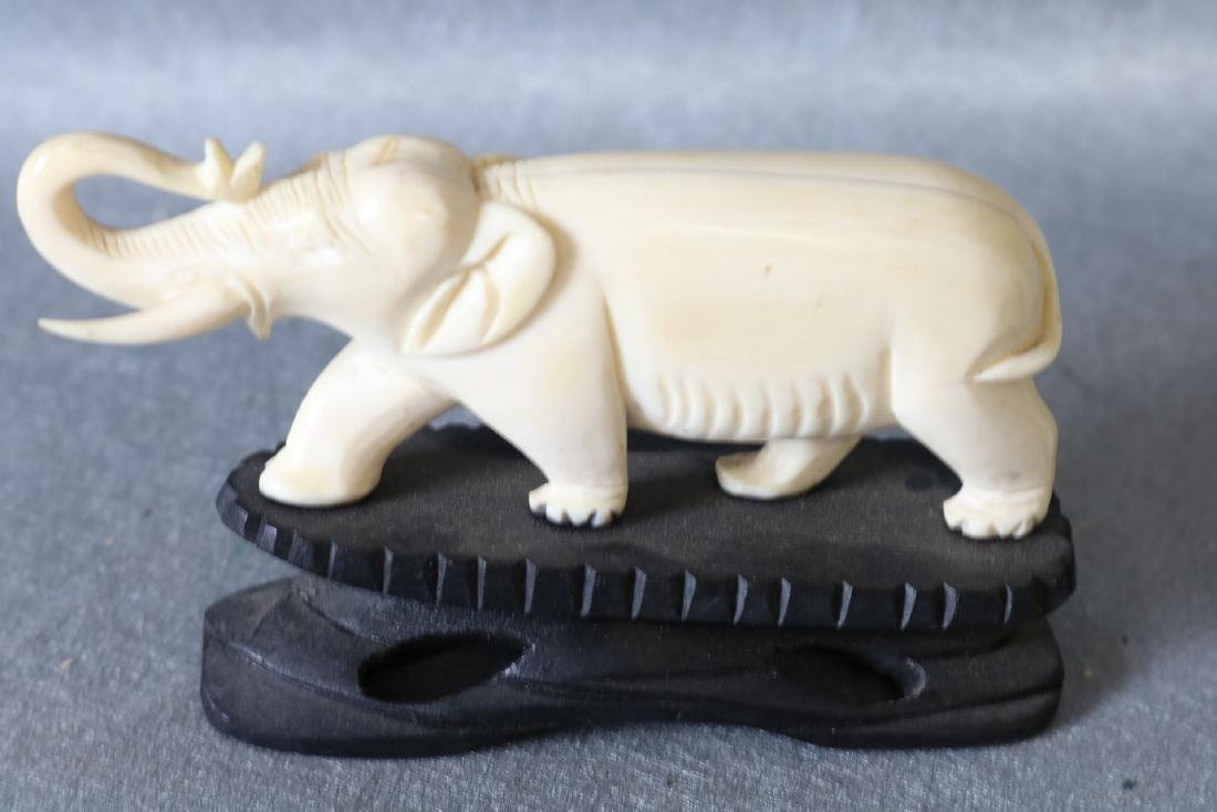 Antique Hand Carved Bone, Asian Elephant - 2