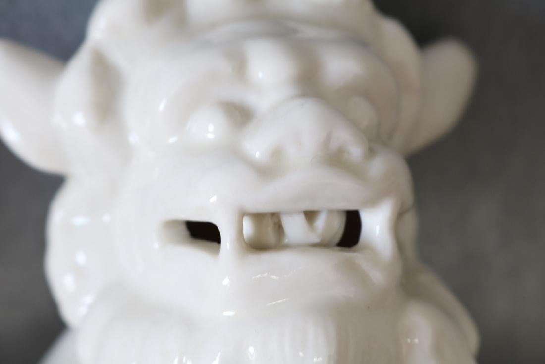 Pair of Vintage White Porcelain Foo Dogs - 9