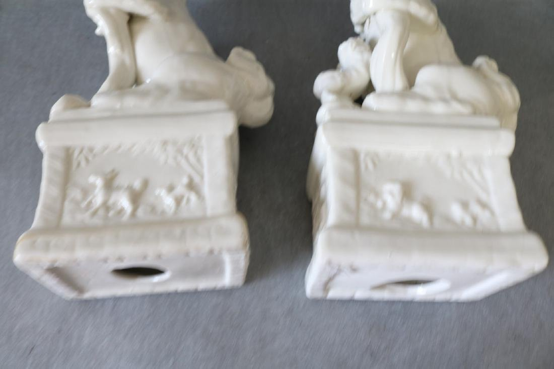 Pair of Vintage White Porcelain Foo Dogs - 6
