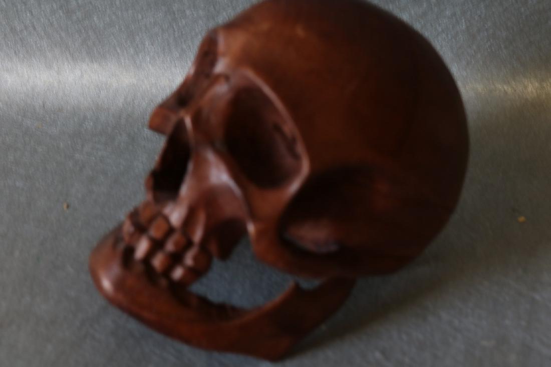 Hand Carved Wood Skull - 2