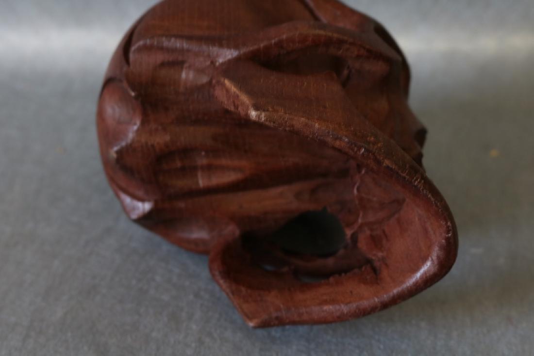 Hand Carved Wood Skull - 4