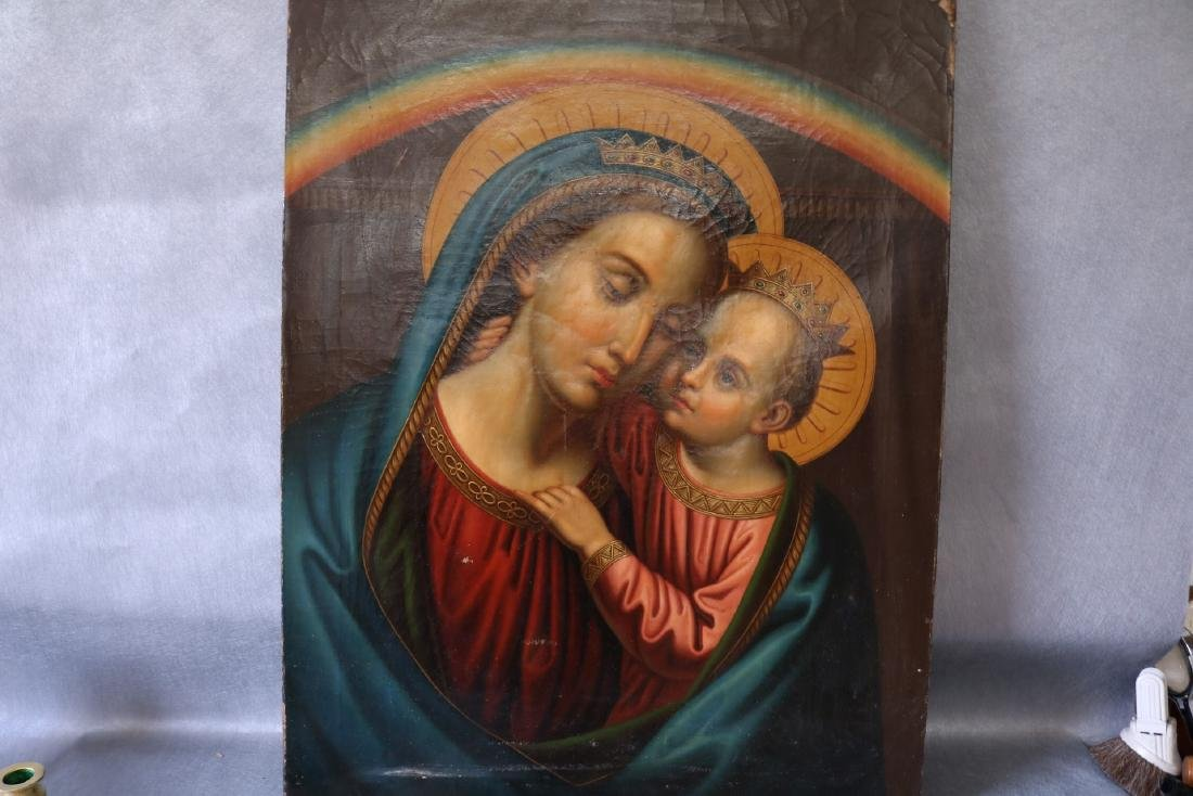 Antique Oil on Canvas, Holy Mother & Child